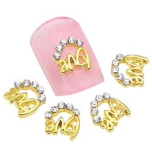 10Pcs/Lot Gold Plated Letter Design Nail Art Decoration Glitter Rhinestones Alloy Nail Charm Stud Cheap Decoration Tool MA0405