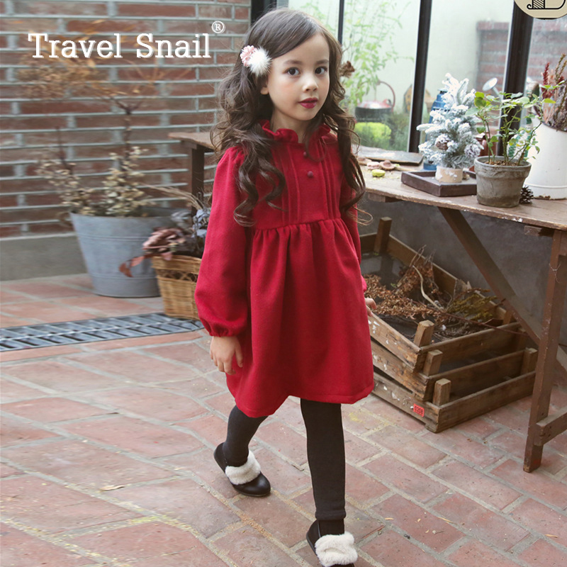 Travel snail kids 3-6 yrs long sleeve dress for girl vestido infantil girls dresses children princess clothing 2017 Winter New<br>
