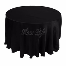 "10Pcs/lot White Black 120"" Table Cover Round Satin Tablecloth for Banquet Wedding Party Table Decoration(China)"