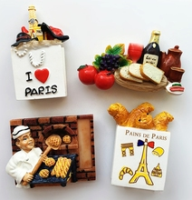 French Red Wine Fruit Bread 3D Fridge Magnets World Tourist Souvenirs Home Decor Refrigerator Magnetic Stickers