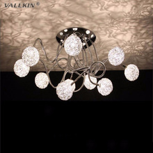 VALLKIN Modern LED Ceiling Light Indoor Ceiling Lamp Luxurious Aluminium Wire Ball  Lamps Fixtures 10 Lights
