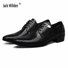 Men's Fashion Snakeskin Grain Leather Lace-Up Dress Shoes Mens Business Office Oxfords Man Casual Wedding Flats EUR Size 38-47(China)