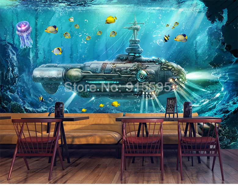 HTB1YvMtdBfM8KJjSZFrq6xSdXXaU - Custom 3D Photo Wallpaper Submarine Underwater World Wall Decor Mural Living Room Bedroom Children Room 3D Wall Murals Wallpaper