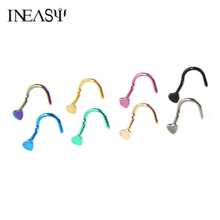 2017 Fashion Heart Nose Ring Stainless Steel Nose Nail Piercing Rings Trendy Nose Piercing Stud Body Piercing Jewelry For Women