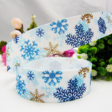 1492120 ,22mm Cartoon Christmas Snowflake Series printed grosgrain ribbon,Clothing accessories,DIY jewelry wedding package(China)