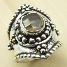 Amazing SMOKY Quartzs UNUSUAL Ring Size US 6.25 ! Silver Plated Over Solid Copper India Jewelry