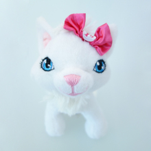 kawaii plush white cat toys with pink bow high quality lifelike animal doll soft and stuffed kids baby toy for home decoration