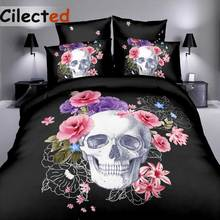 Cilected Pink Floral Skull Duvet Cover Set Single Double Queen King 2/3Pcs Bedding Sets Bedclothes (No Sheet No Filling)(China)