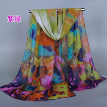 2015 new design printe oil painting scarf/scarves flower beach chiffon silk floral long plain shawls/scarf 10pcs/lot