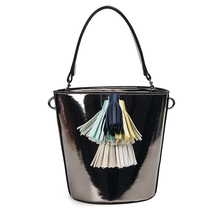Women bucket handag tassel satchel small lady putent pu leather shoulder Bag bling sparkle