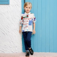 High quality 2017 spring big girls casual blouse cartoon character print full sleeve polyester white kids turn down shirt FD040