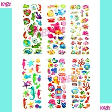 6 Sheets Ocean Marine Life Animals Aquatic Creatures Scrapbooking Bubble Stickers Emoji Reward Kids Toys Factory Direct Sales