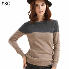YUNSHUCLOSET Classic style ladies knitted cashmere wool sweaters.Grey & camel stitching Long sleeve Pullovers free shipping(China)