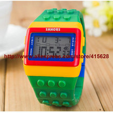 Colorful SHHORS Rainbow Fashion Digital Night Light Watch Jelly LED Gift Plastic Wrist Watches 100pcs/lot For Christmas(China)