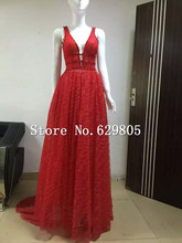Sexy Shining Red Gauze Evening Dress Rhinestone Sequin V Neck Long Dresses Female Singer Mesh Stage Wear Costume Nightclub Show