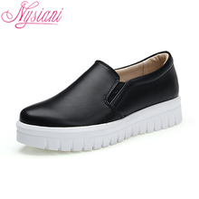 Nysiani Leather Footwear Woman Loafer Shoes 2017 Spring New Muffin Bottom Lazy Shoes Elastic Band Round Toe Flat Platform Shoes