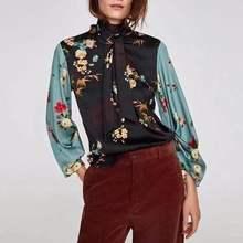 97cd888abbe UK8713AB vrouwen za print blouses knoop Shirts causale mouw losse zijde  shirts herfst Womens Camisa Blusas Feminina