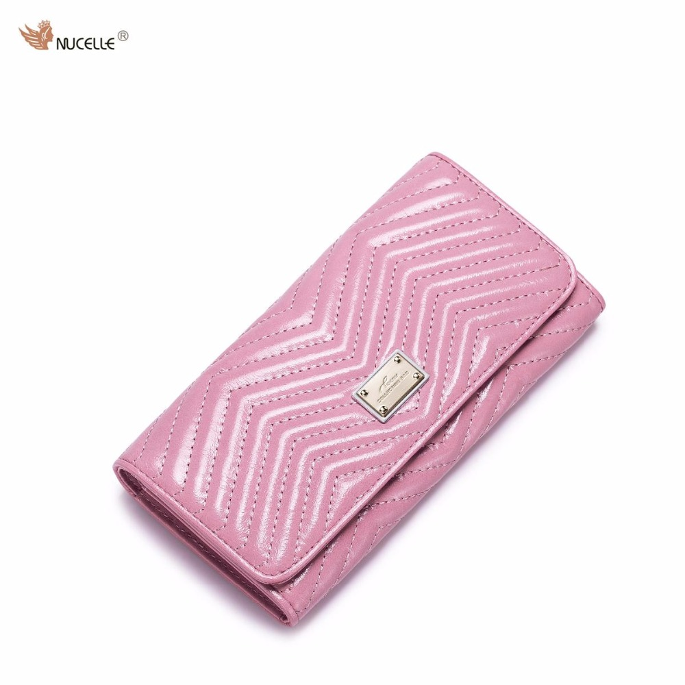 NUCELLE Brand Design Womens Fashion Threads Genuine Real Leather Waxy Ladies Long Wallets Cards Holder Coin Purses Clutches<br>