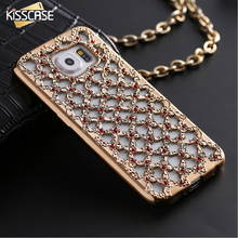 KISSCASE Luxury Plating Color Hollow Grid Case For Samsung Galaxy S6 S6 Edge S6 Edge Plus S7 S7 Edge Soft TPU Cover Diamond Capa