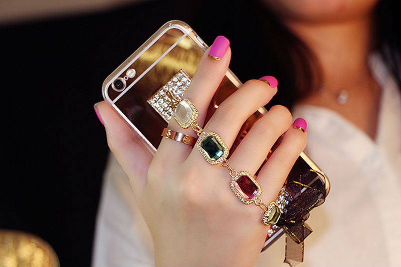 Bling-Crystal-Gold-Color-Diamond-Bracelet-Soft-TPU-Mirror-Case-Phone-Case-Back-Cover-For-SamsungS5