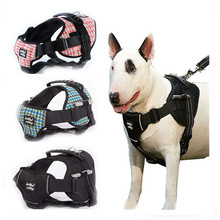 Houndstooth Style Large Dog Harness Strong Pet Dog Training Vest Big Dog Leash Set Soft Walk Out Harness High Quality Dog Collar(China)