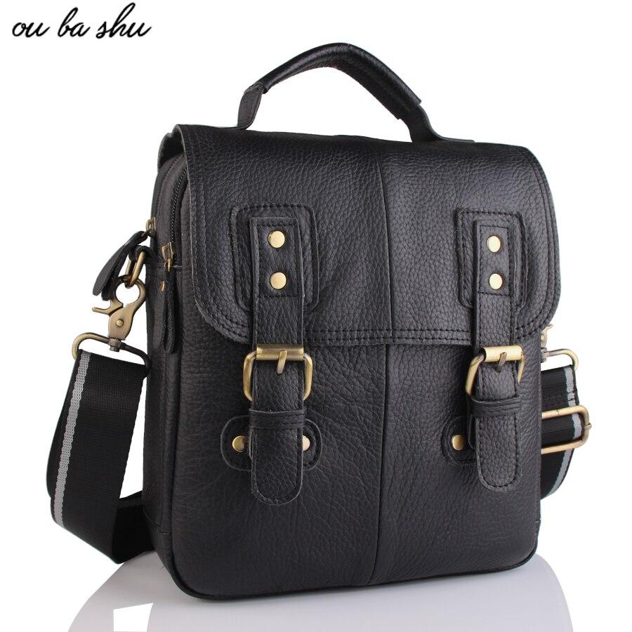 OUBASHU Brand 100% Genuine Leather Men Messenger Bag Casual Crossbody Bag Business Mens Handbag Bags for gift Shoulder Bags Men<br>