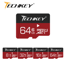 new micro sd card 32GB 64GB 128GB TECHKEY class10 microsd TF card 16GB 8GB TF Memory card External disk For Smart Phone Camera(China)