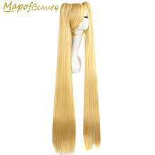 "47""120cm Long cosplay wig 2 ponytail blonde green Straight hair Synthetic wigs shape Claw Heat Resistant MapofBeauty(China)"