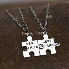 2pcs Best Friend Necklace Pendant Handstamped Friends Friendship Half a Person Engraved Words Heart Love BFF Puzzle Necklaces