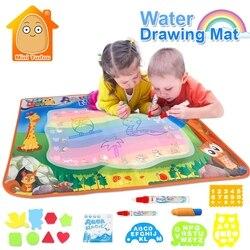 Водные Игрушки для мальчиков 100*70 см Коврик для каракули с игровой ручкой EVA резиновые поделки волшебный водный рисунок Аква Коврик Искусств...