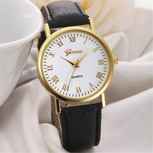 2016Really Cheap Geneva Fashion Unisex Leisure Dial Leather Band Analog Clock Hour Quartz Wrist Watch For Men Women Montre Femme