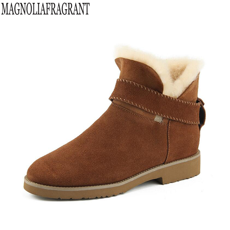 High quality genuine leather Fur one snow boots thick heel ankle boots 2017 fashion martin women boots Warm cotton women shoes k<br>