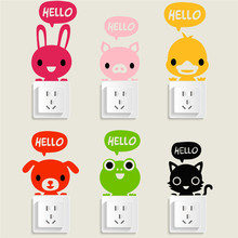Cute Hello Sleeping Animals Cat Rabbit Dog Switch Stickers Wall Sticker Home Decoration for kids Bed rooms Parlor Decoration