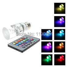 Free shipping 16 Colors Changing RGB LED Lamp 3W E27/GU10 RGB LEDs Bulb +Remote Control ,85-265V RGB LED light 4pcs/lot