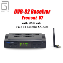 Freesat V7 Satellite Receiver +1 Year Europe CCcam 4 Clines Server+1 USB WIF DVB-S2 Satellite HD Decoder Spain UK Germany Italy(China)