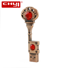 CHYI Copper jewel Key Shape USB Flash Drive Metal Pen Driver 4gb 8gb 16gb 32gb 64gb Pendrive Creative Memory Stick U Disk Gift(China)