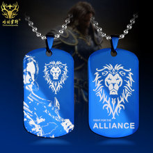 Hamlett WOW World of Warcraft Horde Alliance Horde Lok-tar Ogar Gold Coin Necklace Pendant Titanium Steel Game Jewelry(China)