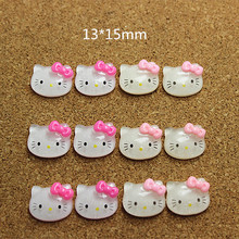 13*15mm 100pcs Cute Resin Glitter Hello Kitty Hotpink/Pink Bow Cabochon Flatbacks for DIY Hair Bow Center Scrapbooking,CT1008(China)
