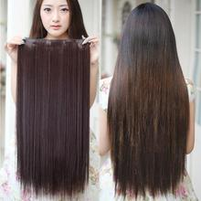 10 colors 60cm Long Clip In Hair Extensions 5Clips Straight Heat Resistant Synthetic Hair Piece Natural Hair Extension