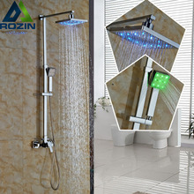 "Polished Chrome Square Rain 8"" Shower Set Wall Mount Bathroom Single Handle Shower Mixer Taps with LED Light Handshower"