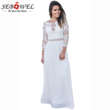 SEBOWEL 2018 NEW Elegant White Lace Crochet Maxi Dress Women Chiffon Party Dresses Quarter Sleeve Ladies Vestidos De Fiesta S-XL(China)