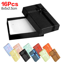 Black Red Pink Cheap+Hot Selling 8x5x2.5cm jewelry earring bracelet ring gift box black square carton bow case package(China)