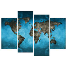 4 Panel Wall Art  World map Printed Painting Door Windows Painting On Canvas Architecture Pictures For Home Decor TP-225