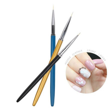 Direct sales 3pcs/set Nylon hair nail art Brush Pen Metal rods Superfine Painted pen Can draw flowers Pull line decoration tool(China)