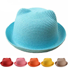 Straw Hats Kids Character Ear Decoration Summer Cap Baby Sun Hat For Girls Boys Solid Bucket Cap For Children Beach Hat Panama
