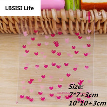 100pcs 2Sizes Rose Pink Heart Flower Resealable Gift Biscuits Candy Food Beans Cookie Soap Handmade Self Adhesive Packing Bags