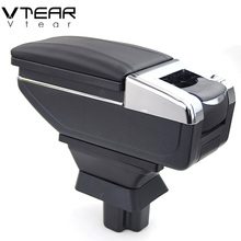 Vtear For Mazda 2 sedan armrest box PU Leather central Store content box with cup holder products car-styling accessories 08-13