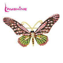 Kayshine Luxury Jewelry Gold-Color with Colorful Rhinestone Butterfly Brooch Pins For Women Accessories