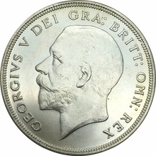 Good Quality 1934 Brass Silver Plated Replica Coin United Kingdom 1 Crown - George V  Can Accept Custom