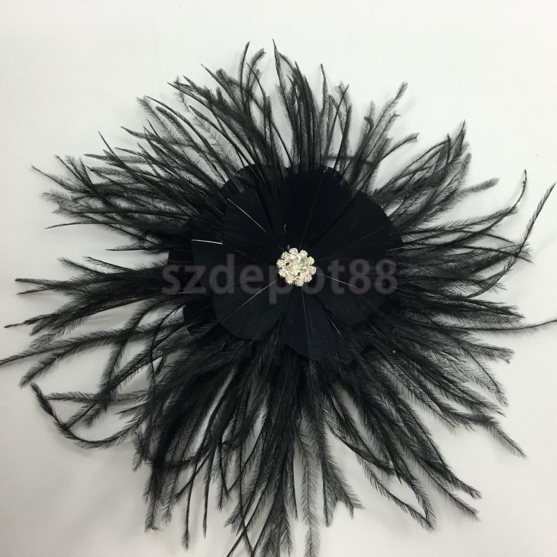 """plumes sur une pince à cheveux gothique voile Noir Cage à oiseaux voile 12/"""" avec organza fleur"""